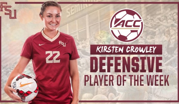 fsu florida state university womens soccer kirsten named acc defensive player of week