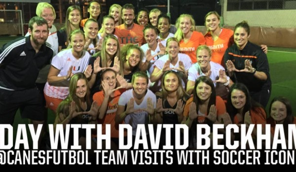 david beckham visits university of miami soccer